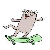 Кот едет скейтборд также вектор иллюстрации притяжки corel Стоковая Фотография RF