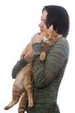 Кот женщины и апельсина Стоковая Фотография