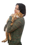 Кот женщины и апельсина Стоковое фото RF