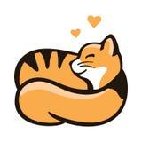 Кот завил в шарик и сны, логотип с любимчиком Стоковые Изображения RF