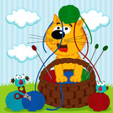 Кот играя с шариком пряжи Стоковое Изображение