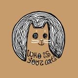 Кот изверга Искусство для дизайна футболки Стоковые Изображения RF
