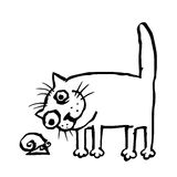 Кот изучает улитку также вектор иллюстрации притяжки corel Стоковые Фотографии RF