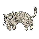 Кот искусства с флористическим орнаментом для вашего дизайна Стоковое Фото
