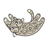 Кот искусства с флористическим орнаментом для вашего дизайна Стоковое Изображение