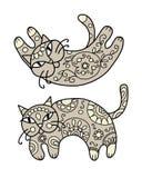 Кот искусства с флористическим орнаментом для вашего дизайна Стоковое фото RF