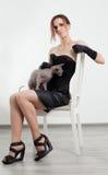 Кот и женщина Стоковое Изображение