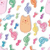 Кот и картина сна музыки безшовная иллюстрация штока