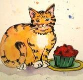 Кот и красное пирожное Иллюстрация штока