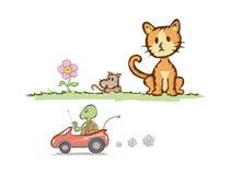 Кот и крыса с черепахой Стоковые Изображения
