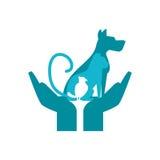 кот и птица собаки над дизайном рук иллюстрация вектора