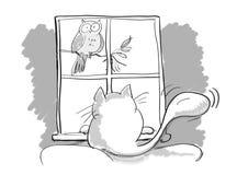 Кот и птица шаржа Стоковое Изображение