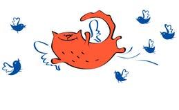 Кот и птицы летания иллюстрации вектора Стоковые Изображения