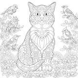 Кот и птицы Zentangle бесплатная иллюстрация
