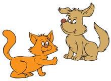 Кот и собака (зажим-искусство вектора) иллюстрация штока