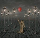 Кот и уличные светы иллюстрация штока