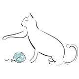 Кот и шарик пряжи Стоковое Изображение