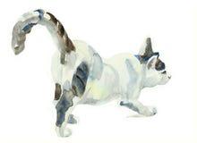 Кот картины акварели протягивая на поверхности Стоковая Фотография RF