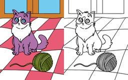 Кот книги расцветки Стоковое Изображение