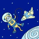 Кот космонавта шаржа также вектор иллюстрации притяжки corel Стоковое Изображение