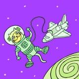 Кот космонавта шаржа также вектор иллюстрации притяжки corel Стоковые Изображения RF