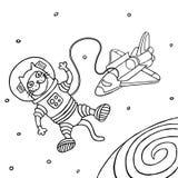 Кот космонавта шаржа также вектор иллюстрации притяжки corel Стоковые Фотографии RF
