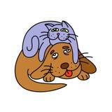 кот кладя на собаку иллюстрация Стоковая Фотография