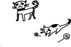 Кот матери с ее киской младенца Иллюстрация вектора