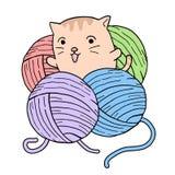 Кот младенца играя с шариками шерстей иллюстрация вектора