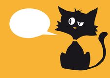 Кот мультфильма циничный с одним пустым белым ярлыком пузыря для изготовленного на заказ текста, яркой оранжевой предпосылки стоковые фото