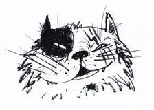 Кот назвал Пирата, бросаясь и самоуверенного Иллюстрация для журналов и литературы детей, так же, как для футболок иллюстрация штока