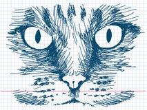 Кот нарисованный рукой Стоковые Фотографии RF
