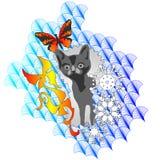 кот на бабочке и снежинке предпосылки Стоковое фото RF
