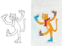 Кот на коньках Стоковая Фотография
