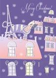 Кот на крыше сини Парижа зимы иллюстрация вектора