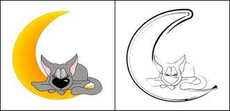 Кот на луне иллюстрация вектора