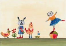 Кот на шарике и животные Стоковые Фото