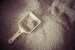 кот песка чистки кота туалета в fillter года сбора винограда коробки сора Стоковое фото RF