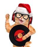 Кот показателя винила наушников музыки Стоковые Изображения RF