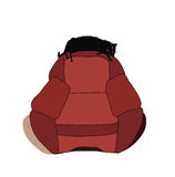 Кот протягиванный вне на задней части стула и спать EPS 8 Стоковая Фотография