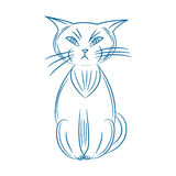 кот сварливый Handdrawn На белой предпосылке иллюстрация вектора