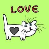 Кот сердца на иллюстрации вектора дня ` s валентинки Стоковое Изображение RF