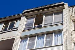 Кот сидя на окне, взгляд от улицы стоковое изображение rf