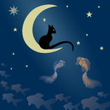 Кот сидит на луне и улавливает рыб Иллюстрация штока