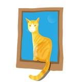 Кот сидя на окне Стоковые Изображения