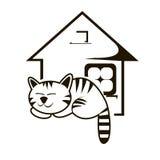 Кот спать и иллюстрация вектора дома Стоковое Изображение RF