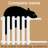 Кот спит на логотипе систем отопления радиатора самом лучшем Стоковое Изображение RF