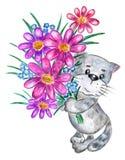 Кот с букетом цветков Стоковые Фотографии RF