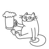 Кот с кружкой пива также вектор иллюстрации притяжки corel Стоковые Фотографии RF