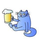 Кот с кружкой пива также вектор иллюстрации притяжки corel Стоковая Фотография RF